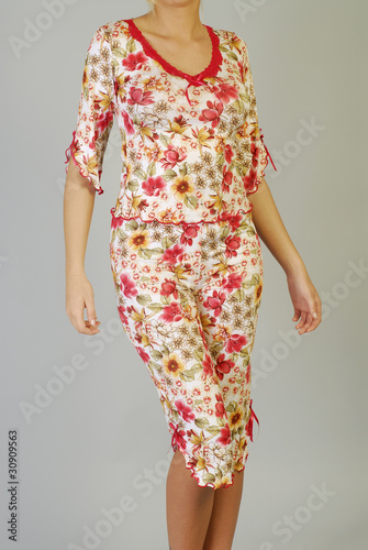 Woman in sleeping suit