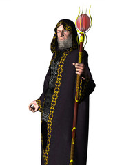 Wizard in robes with staff