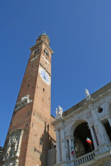 Tower of Basilica Palladiana design by Palladio with clock