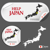 Stickers with advertisement. Help Japan map