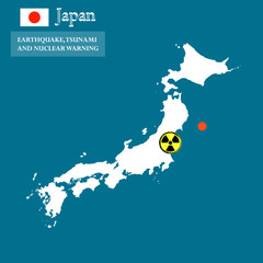 Japan map with danger