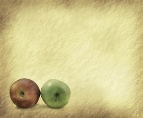 apple on grunged paper background .
