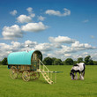 Old Gypsy Caravan, Trailer, Wagon with Horse
