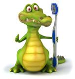 Crocodile et brosse à dents - 30916742