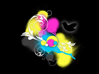 Colored Flourish Spray Background