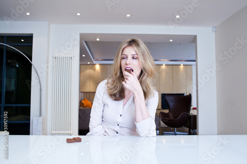 Woman enjoying chocolate