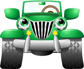 Jeep Geep Auto Fuoristrada Cartoon-Vector