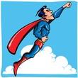 Cartoon Superhero flying up and away