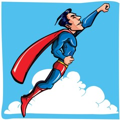 Cartoon Superhero flying up and away