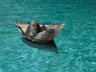 Currency boat in the lake