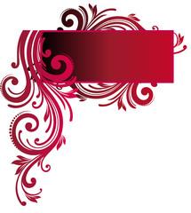 etiquette floral rouge
