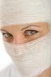 Close-up shot on bandaged face