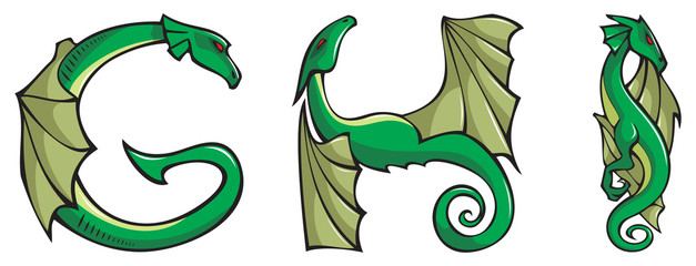 Series of dragons alphabet, G,H,I , fantasy font, vector