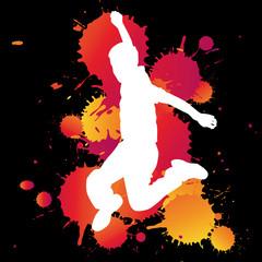 enfant saute couleur jump bonheur