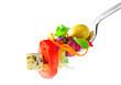 Vegetable salad on fork isolated