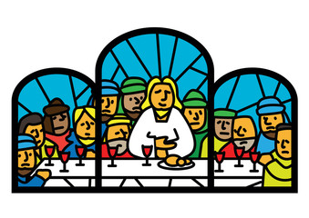 last supper window vector illustration