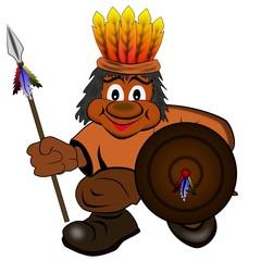 Indianer mit Speer und Schild