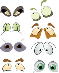 The complete set of the drawn eyes. Cartoon