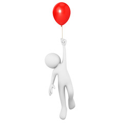 Man flying attached to a red balloon
