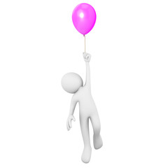 Man flying attached to a purple balloon