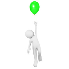 Man flying attached to a green balloon