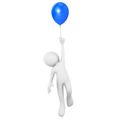 Man flying attached to a blue balloon