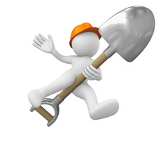 Construction worker in balance on a shovel as a magic broom