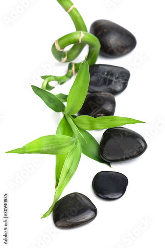 spa stones and bamboo isolated