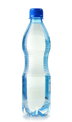 Polycarbonate plastic bottle of mineral water isolated on white