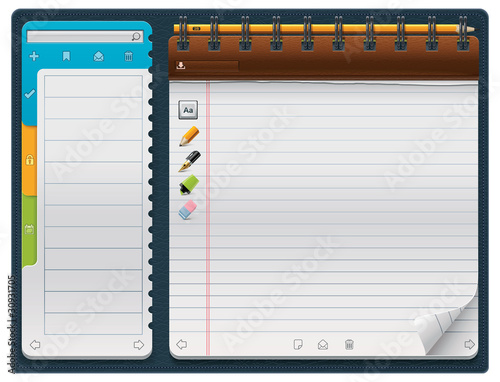 Vector notepad template (horizontal)