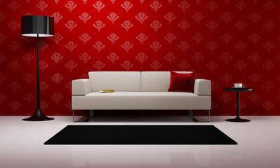Red stylish interior scene, living room