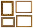 Collection picture gold frames with a decorative pattern