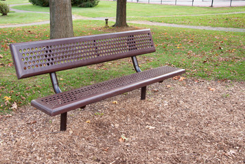 empty metal park bench
