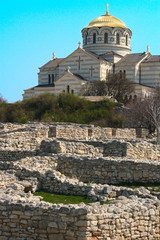 Orthodox church and ruins of an ancient city