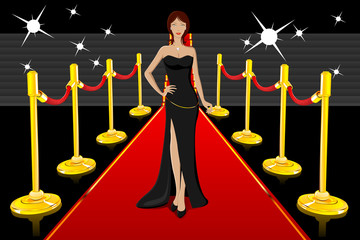 Glamorous Lady on Red Carpet