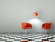 3d Rendering rote Stühle auf Schachbrett Muster