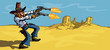Cartoon cowboy in the desert firing his six guns