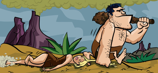 Caveman dragging his woman by her hair