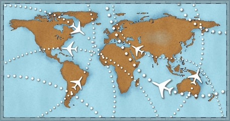 Airline planes travel flights air traffic world map