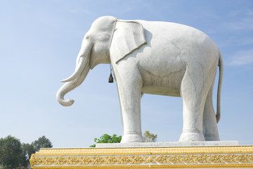 A carved marble elephants