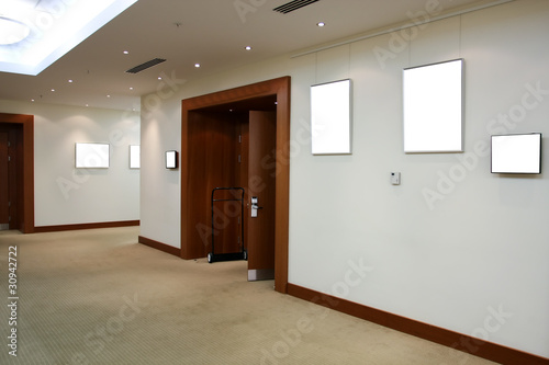 modern hall with white placards