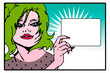 Pop art comic Love Vector of surprised woman face with blank in