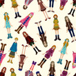 seamless young girl pattern