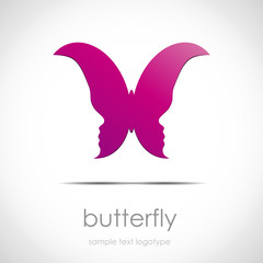 Logo butterfly with faces # Vector