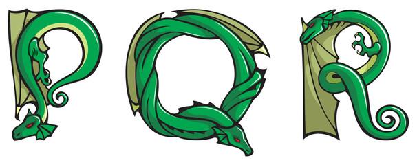 Dragons alphabet, letters P,Q,R, fantasy font, vector