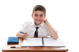 School boy student at desk