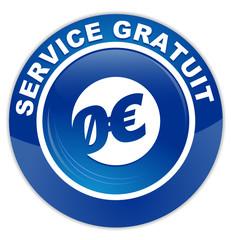 service gratuit sur bouton rond bleu