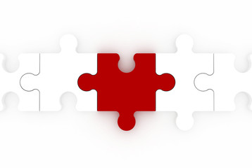 red piece of puzzle among white similar ones