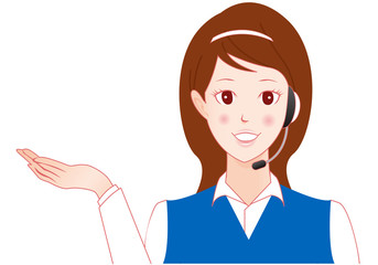 woman with headset  オペレーター