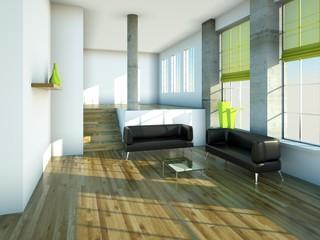 Loft mit Ledersofas und grünen Vorhängen